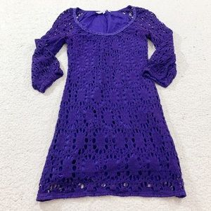 Trina Turk wakeboard perforated purple eyelet dres